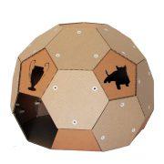 Soccer Cardboard Cat House front left – football outside and refuge inside