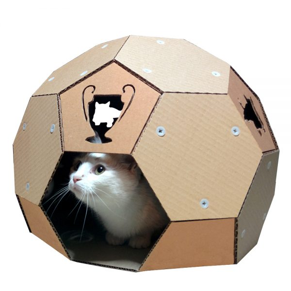 Soccer Cardboard Cat House – football outside and refuge inside