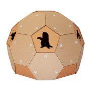 Soccer Cardboard Cat House left – football outside and refuge inside