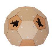 Soccer Cardboard Cat House rear back – football outside and refuge inside