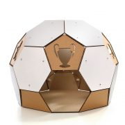 Soccer White Cardboard Cat House frontHouse – more than ball toy but a sanctuary