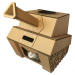 Tank Cardboard Cat House with cat 2