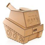 Tank Cardboard Cat House back left – military spirit awakens in your kitty