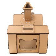 Tank Cardboard Cat House entrance – military spirit awakens in your kitty