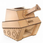 Tank Cardboard Cat House front left – military spirit awakens in your kitty