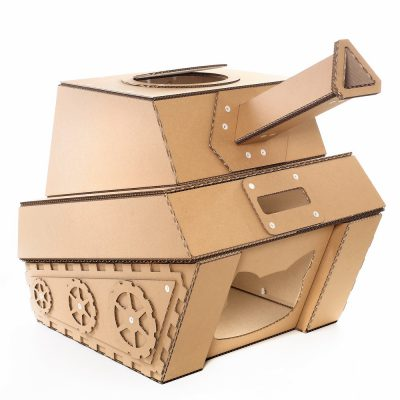 Tank Cardboard Cat House front left