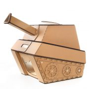 Tank Cardboard Cat House front right – military spirit awakens in your kitty