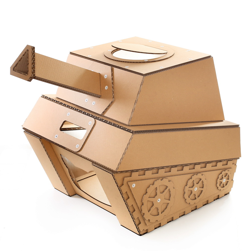 tank cardboard cat house military spirit awakens in your kitty