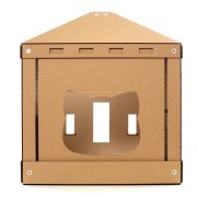 The Temple Cardboard Cat House entrance – brings kittens and gods together
