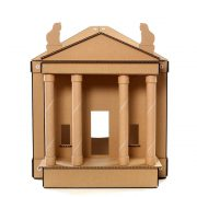 The Temple Cardboard Cat House front – brings kittens and gods together