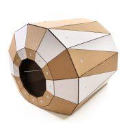 Twist Cardboard Cat House front left – a magic tunnel to endless feline joy