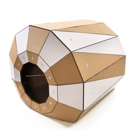 Twist Cardboard Cat House front left – a magic tunnel to endless feline joy