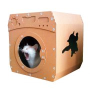 Wash Cardboard Cat House with cat 1 – jump and enjoy the perfect wash