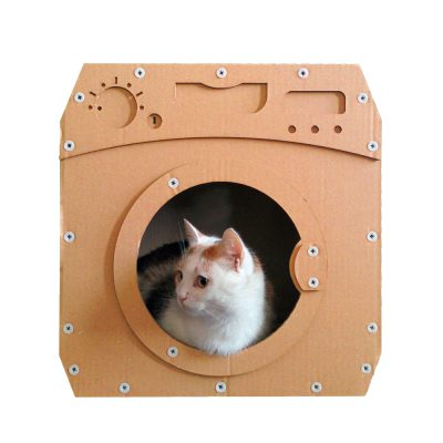 Wash Cardboard Cat House with cat 2