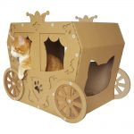 Carriage Cardboard Cat House with cat3