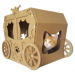Carriage Cardboard Cat House with cat4