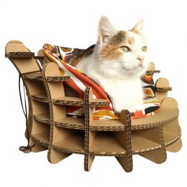 Colliseum Cardboard Cat House with cat1