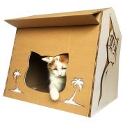 Cool Summer Cardboard Cat House with cat 3