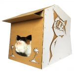 Cool Summer Cardboard Cat House with cat 5
