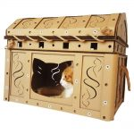 Dead Man's Chest Cardboard Cat House with cat3