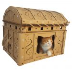 Dead Man's Chest Cardboard Cat House with cat5