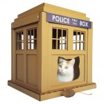 Dr Who Tardis Cardboard Cat House with cat1