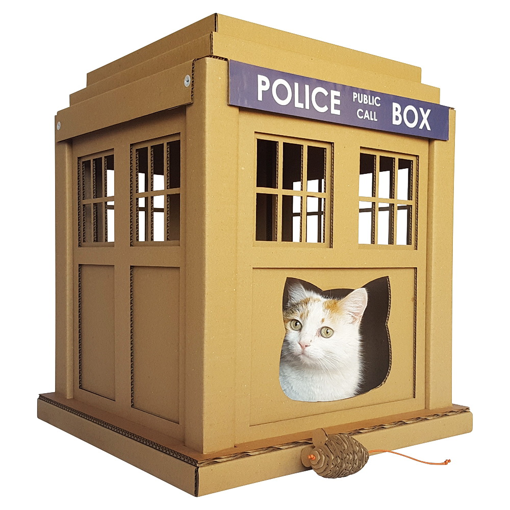dr who tardis cat house entering into an alternative world. Black Bedroom Furniture Sets. Home Design Ideas