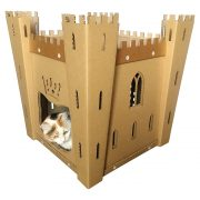 Fortress Cardboard Cat House with cat 2