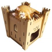 Fortress Cardboard Cat House with cat 3