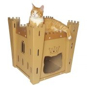 Fortress Cardboard Cat House with cat 4