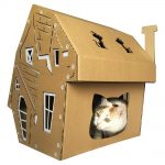 Halloween Cardboard Cat House with cat4