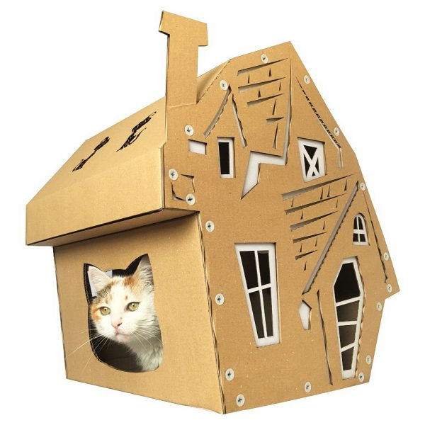 halloween cardboard cat house focus pawcus brought to you. Black Bedroom Furniture Sets. Home Design Ideas
