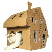 Halloween Cardboard Cat House with cat2