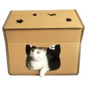 Hello Kitty Cardboard Cat House with cat1