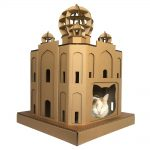 Taj Mahal Cardboard Cat House with cat 1