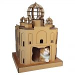 Taj Mahal Cardboard Cat House with cat 2