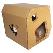 Modern Cardboard Cat House with cat 4