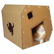 Modern Cardboard Cat House with cat 5