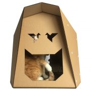 Origami Cardboard Cat House with cat1