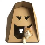 Origami Cardboard Cat House with cat3