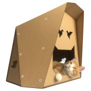 Origami Cardboard Cat House with cat4
