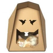 Origami Cardboard Cat House with cat5