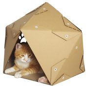Pentagon Cardboard Cat House with cat2