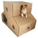 Penthouse Cardboard Cat House wiyh cat3