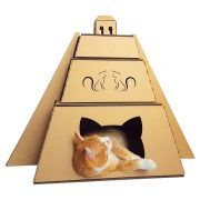 Mayan Pyramid Cardboard Cat House with cat 1