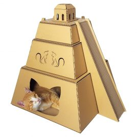 Mayan Pyramid Cardboard Cat House with cat 2