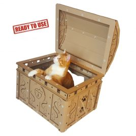 Dead Man's Chest Cardboard Cat House with cat8