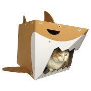 Shark Cardboard Cat House with cat1