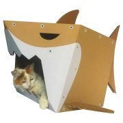Shark Cardboard Cat House with cat2