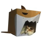 Shark Cardboard Cat House with cat3